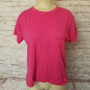 Rag & Bone Hot Pink Pocket Tee T-Shirt Pima Cotton
